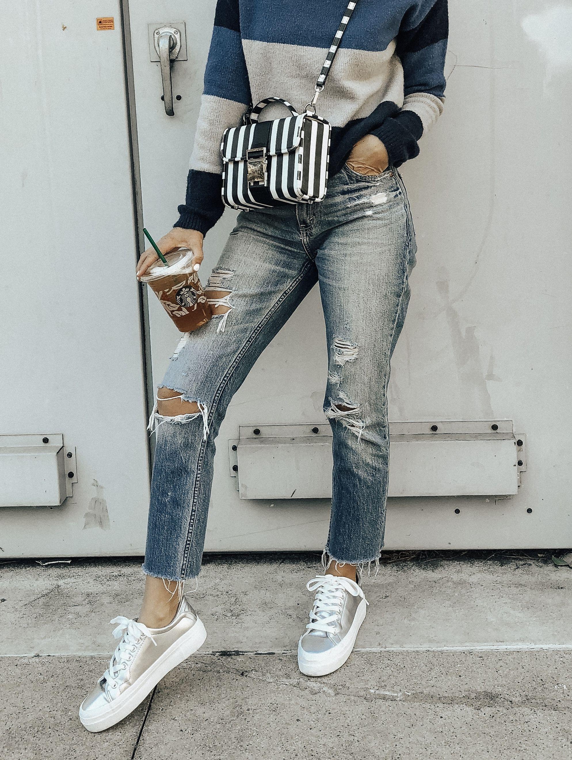 e34cb64d798 ROCKET DOG PLATFORM SNEAKERS- Jaclyn De Leon Style + metallic silver  platform shoes + distressed denim + striped sweater + target style + retro  style + fall ...