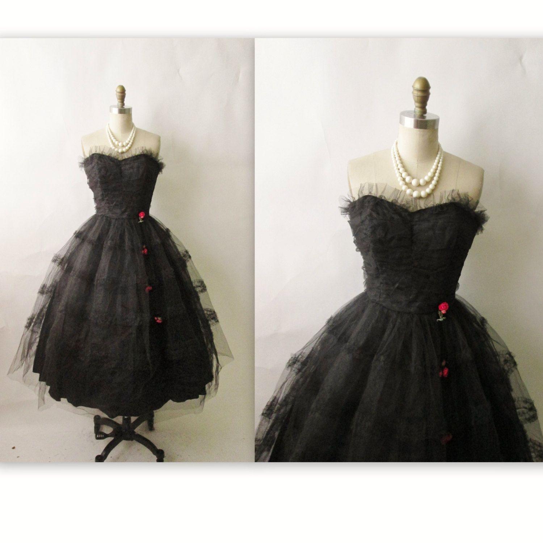 50s Prom Dress // Vintage 1950's Strapless Black Tulle