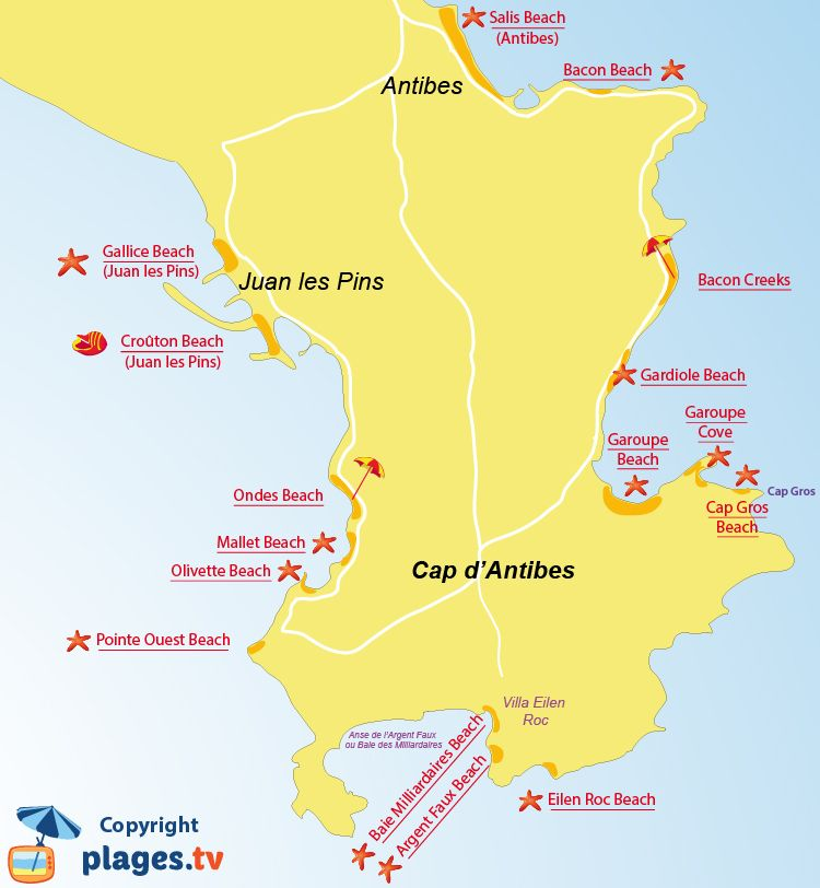 Map Of Cap D Antibes Beaches In France Provenza Francese
