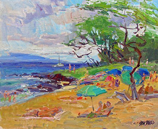 Meeting Lisa Little Beach by Don Sahli Oil ~ 20 x 24