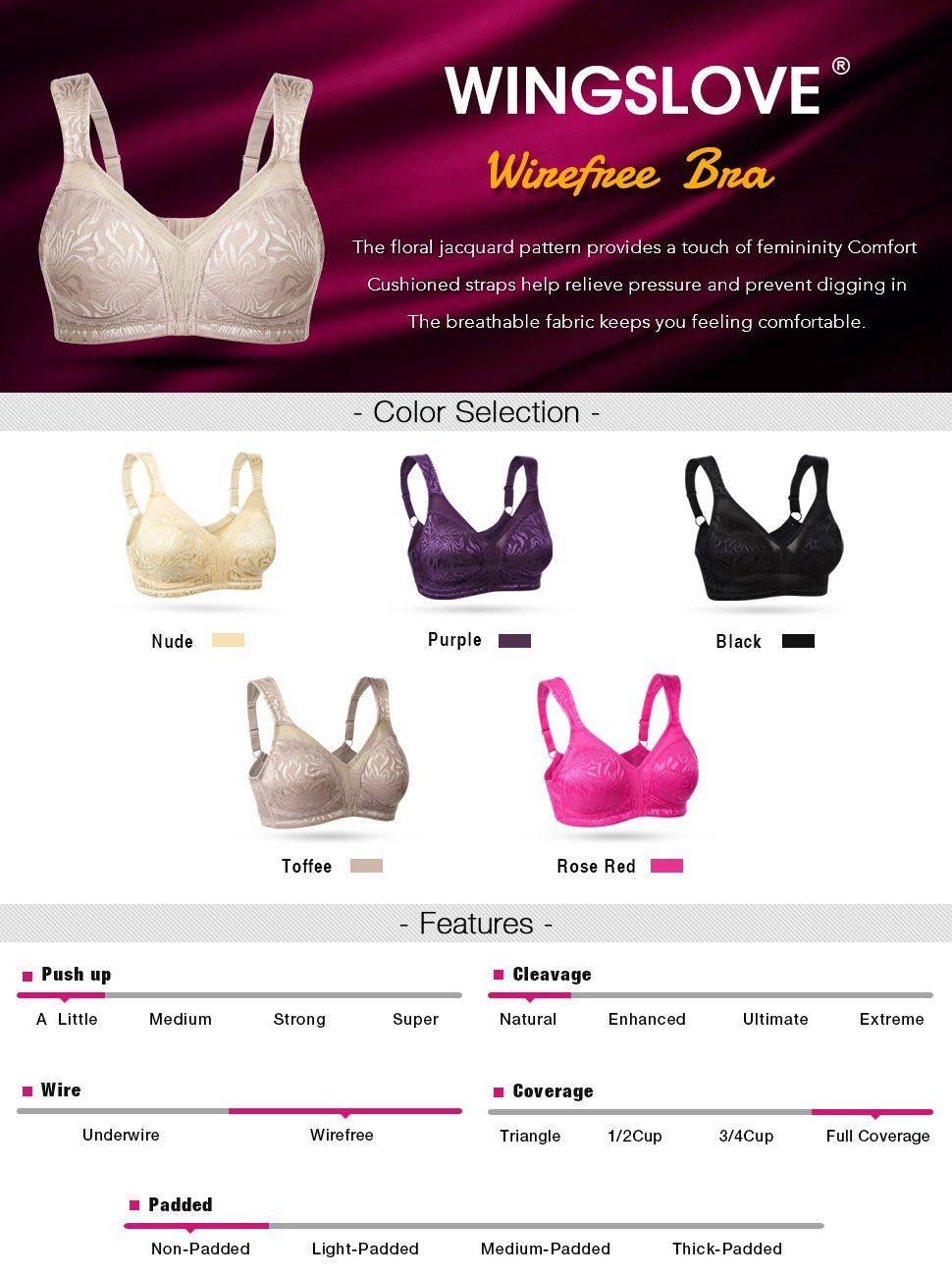 aba73e5d0 WingsLove Women s Full Coverage Non Padded Comfort Strap Minimizer  Wire-Free Bra(Nude