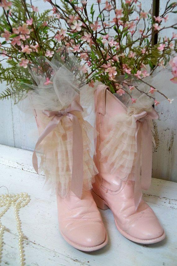 rosa cowboy stivali recycled ruffled floral embellished western ...