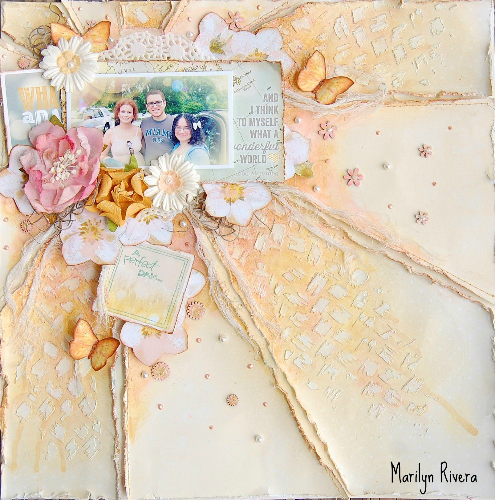 Mix Media scrapbooking layout video tutorial- My Creative Scrapbook- August Limited Edition kit by Marilyn Rivera