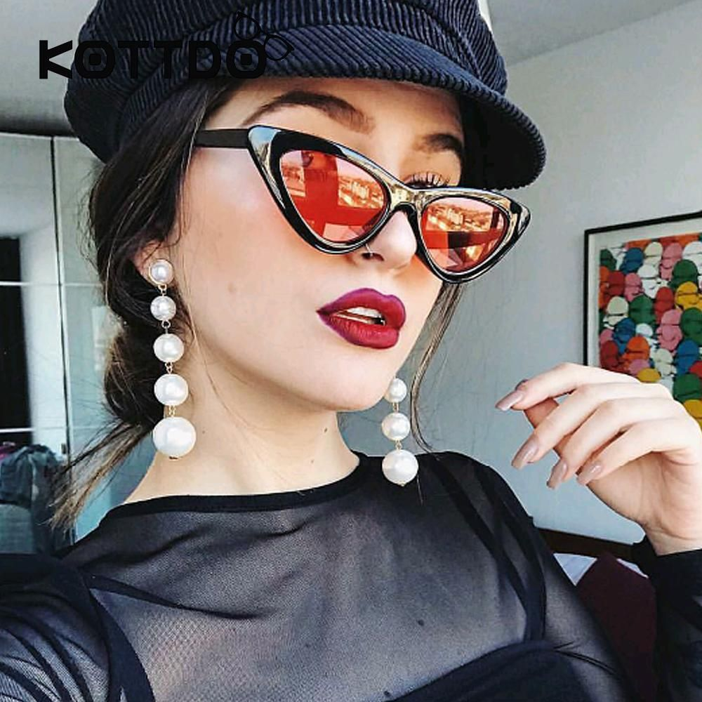 3213639dc5 Black Small Triangle Cat Eye Frame Sunglasses Women UV400 Retro White  Vintage Female Sun glasses Red Frame Protection uv400