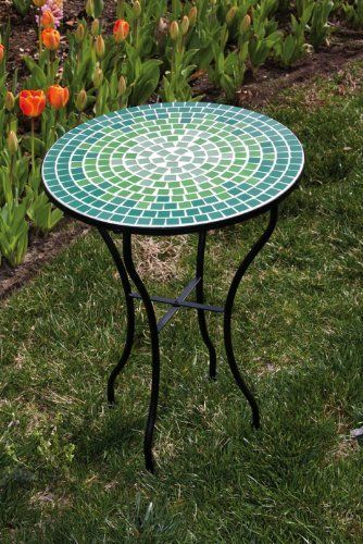 Mosaic Table Blue And Green By Ashley Gifts Http Www Amazon Com Dp B0055pg1c6 Ref Cm Sw R Pi Dp U Mosaic Outdoor Table Mosaic Patio Table Green Mosaic Tiles