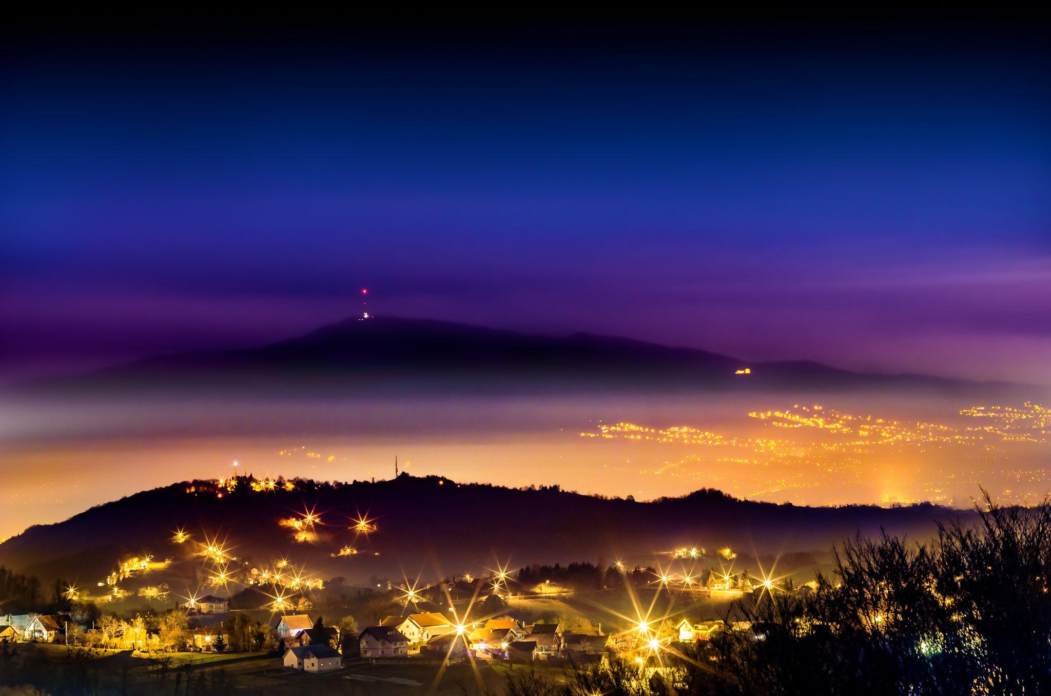 Winter Nightscape Nightscape Sunset Painting Zagreb