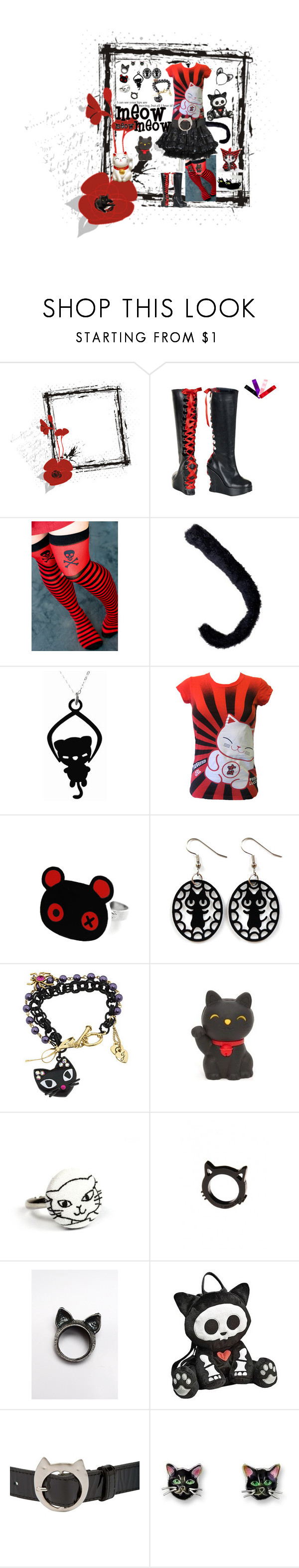 """The Cat's Meow"" by mysticrose29 ❤ liked on Polyvore featuring INC International Concepts, Newbreed Girl, Panda, Betsey Johnson, FluffsStuffs, Tsumori Chisato, kitten, cat, goth and neko"