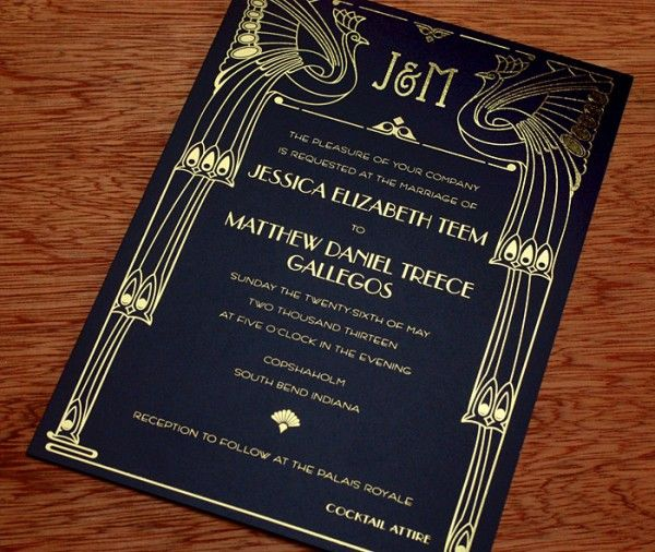 Clic Black And Gold Foil Roaring Twenties Themed Pea Motif Wedding Invitation With Tail Attire Recommendations