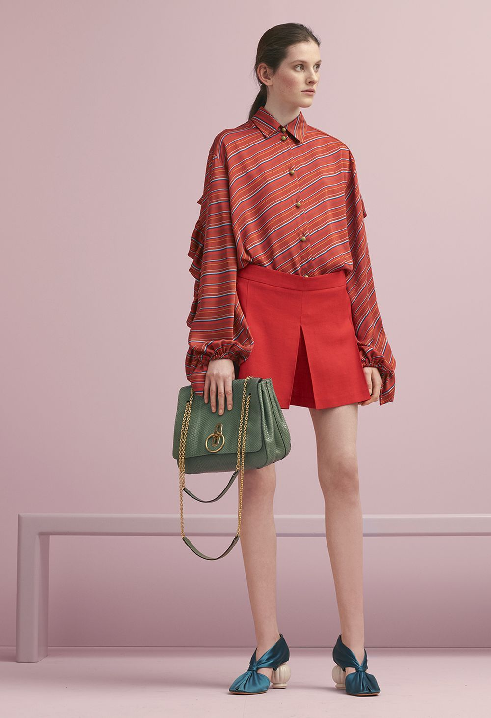 10a74538f0 Mulberry Summer  18 LFW show. The Kathleen Shirt in Lipstick Red Diagonal  Stripes Twill