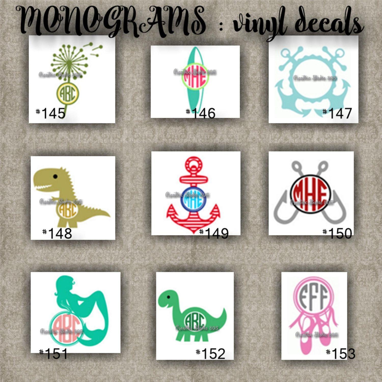 Monogram vinyl decals name initial decal sticker car decals car stickers laptop sticker 145 153
