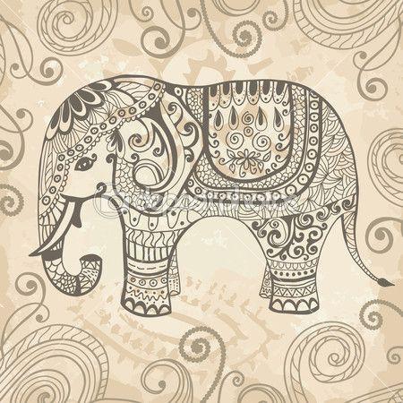 L phant drawings painting motifs colorier dessin et tableau peinture - Elephant indien dessin ...