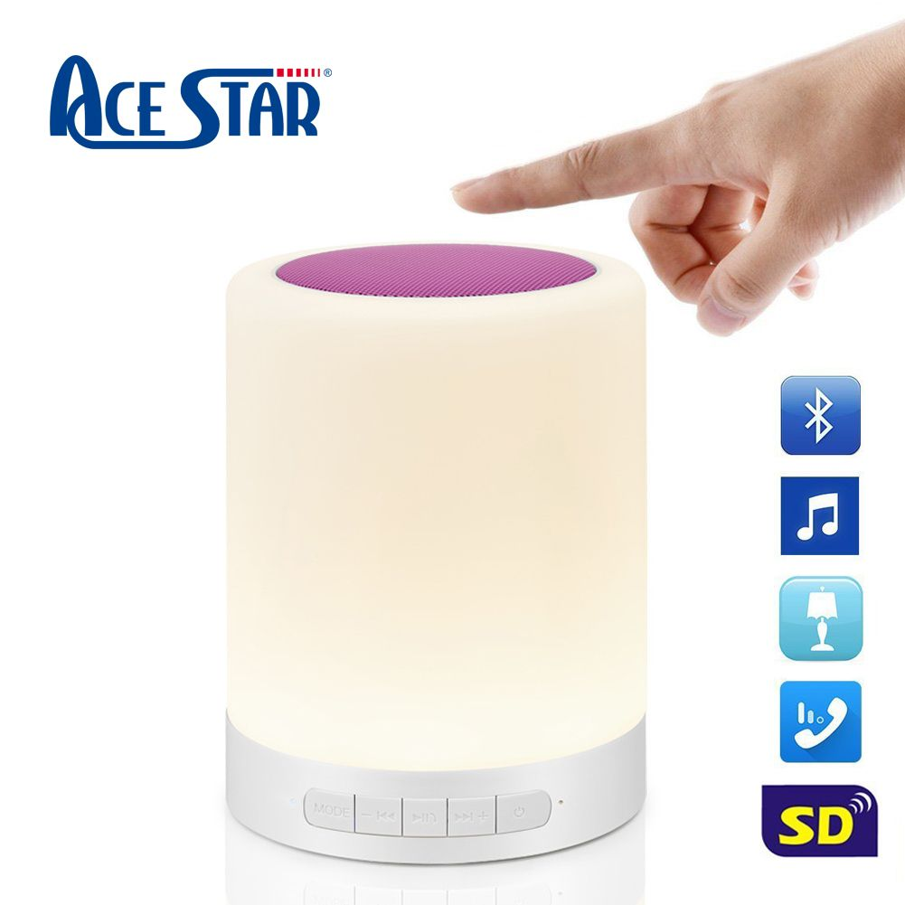 Bluetooth Speaker Wireless Portable W Led White Table Lamp Music Mp3 Time Clock Touch Lamp Portable Speaker White Table Lamp