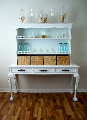 Hutch from bookcase topper and desk table....I love putting furniture pieces together to make something new...gotta keep my eye out for pieces that go together like this!  Great idea