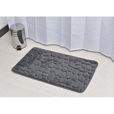 Evideco 3d Cobble Stone Shaped Memory Foam Bath Rug Color Dark