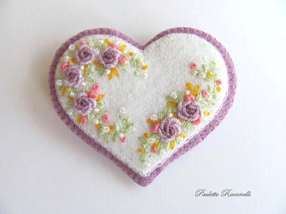 Felt Heart Pin / Embroidered Heart. $20.00, via Etsy.