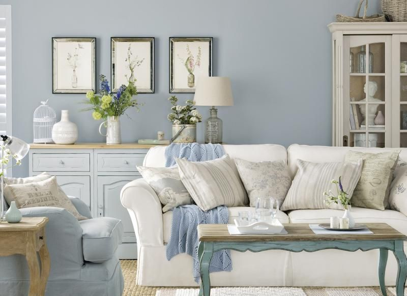 Country Pictures For Living Room Part - 46: Pale Blue Country Boutique Living Room. How I Love These Colors!