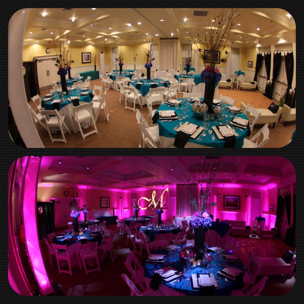 Wedding Ideas With A Difference: Wedding UpLighting Before & After With Pin Spots And