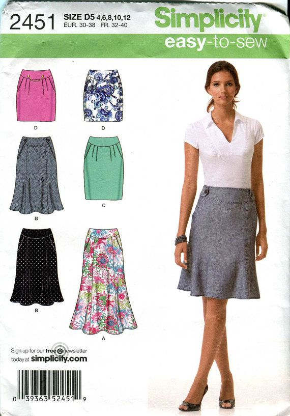 Simplicity 2451 - Easy-to Sew Skirt pattern - 2 styles with waist ...