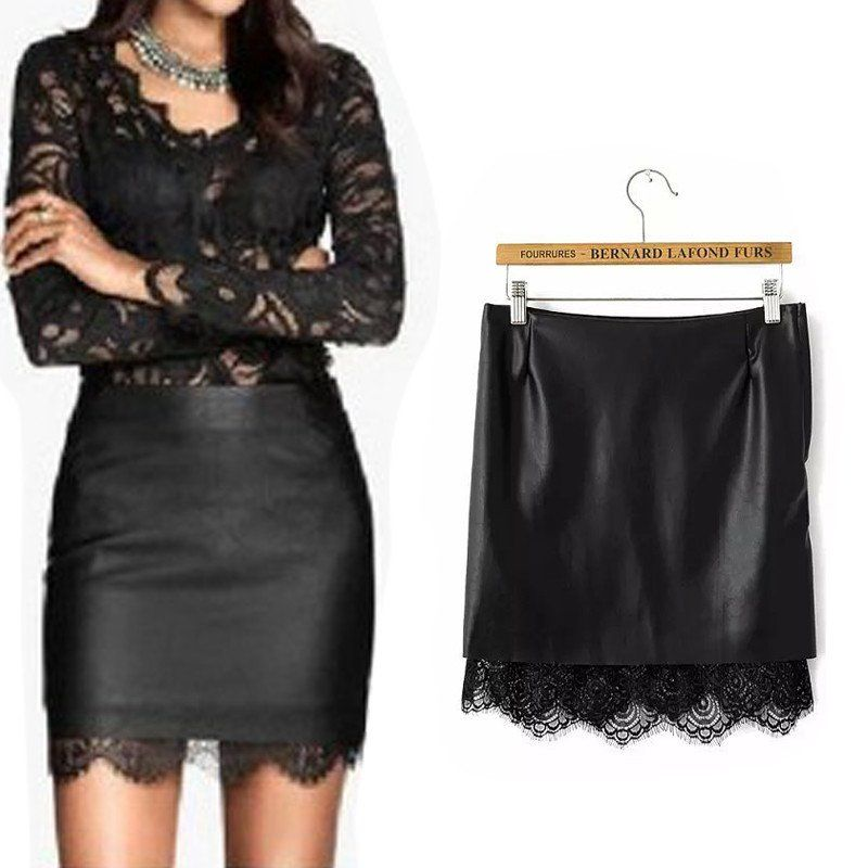 Black Leather Skirt Tights Lace Patchwork High Waist Leather ...