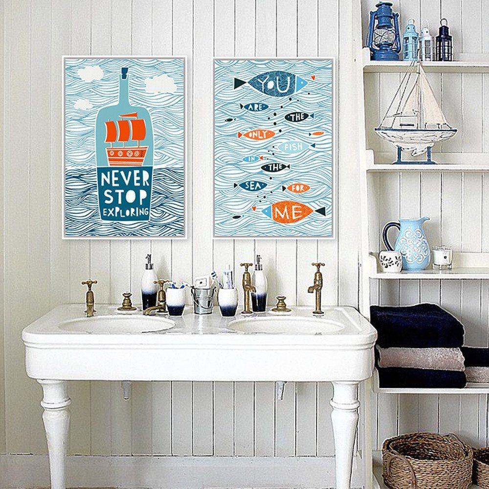 Fish in the ocean canvas wall art canvas prints home nursery