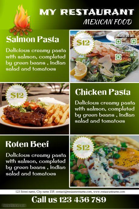 Elegant restaurant menu poster/flyer http://www.postermywall.com ...