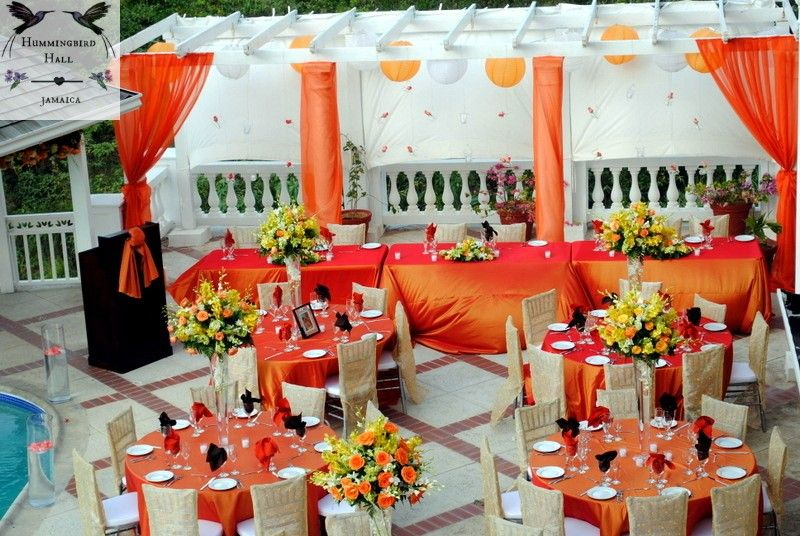Orange Wedding Reception Tables Tropical Paradise Reception