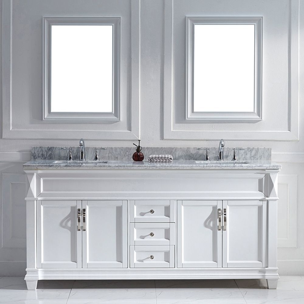 Virtu USA Victoria 72 inch White Double Sink Vanity Set  in Square Size Vanities