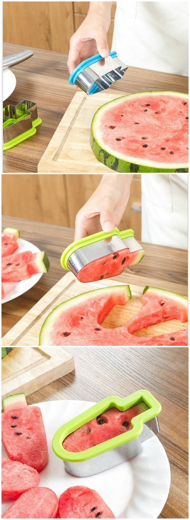 The innovative tool to cut and serve the watermelon in a quick and clean way.