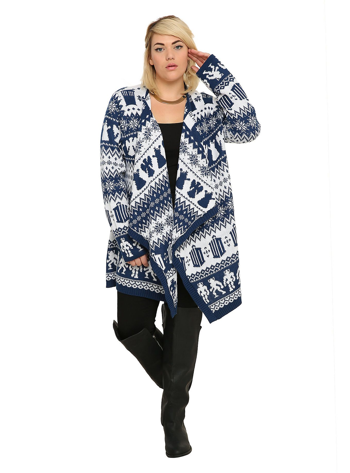 Doctor Who Fair Isle Open Cardigan Plus Size | Open cardigan and ...