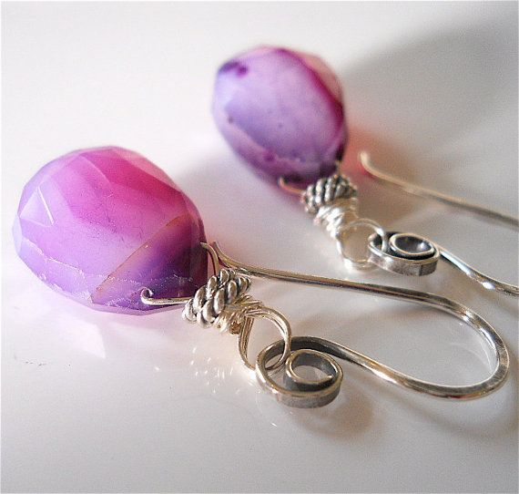 Swirly Purple Chalcedony Gemstone Earrings with by YourDailyJewels, $40.00