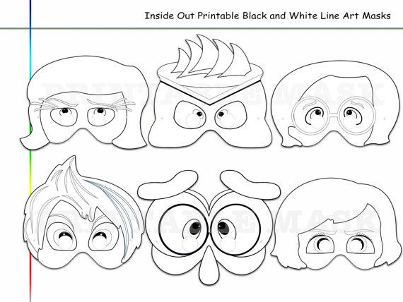 coloring pages inside out printable black and white line art mask ... - Emotions Coloring Pages Printable