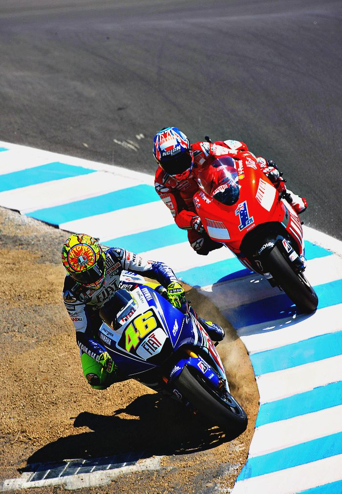 Creative lines. Rossi's iconic pass on Casey Stoner at Laguna Seca.