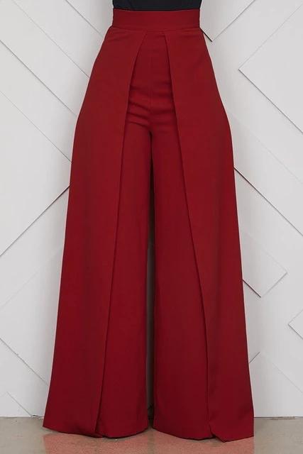 Photo of Chic High Waist Zipper Palazzo Pants for Women Casual Loose Wide Leg Pants Ladies Elegant Long Culottes Trousers Pantalon Femme
