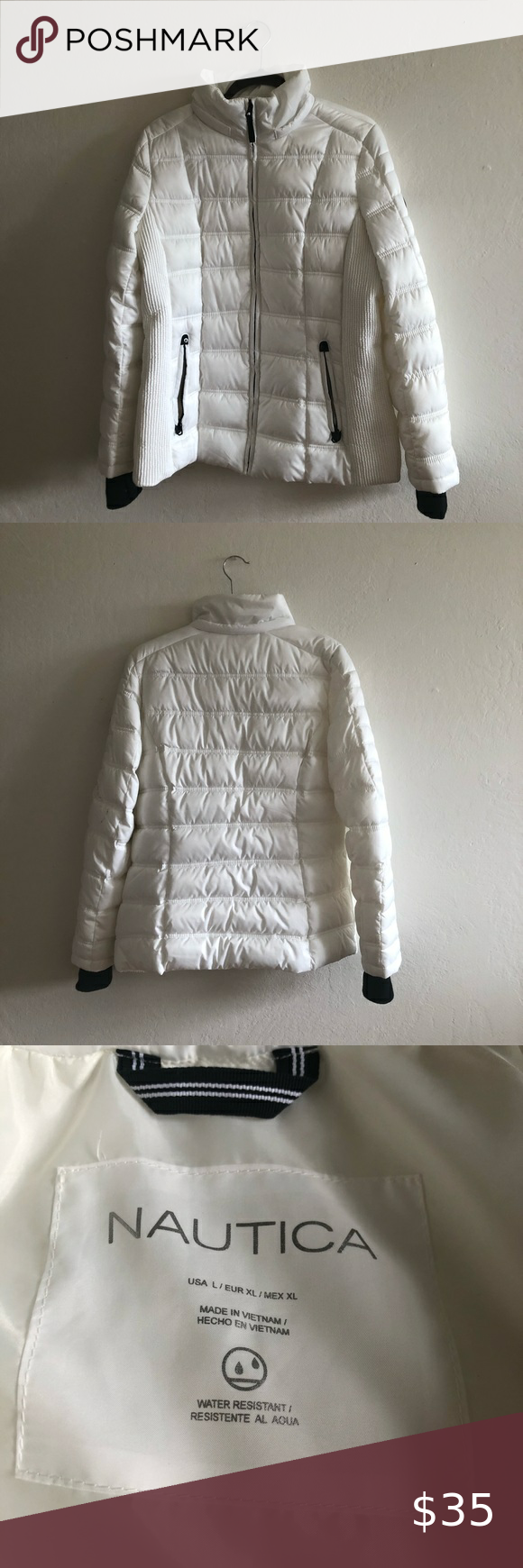 Nautica Large Sip Up Jacket Puffer Jacket Women Coats Jackets Women Green Puffy Coat [ 1740 x 580 Pixel ]