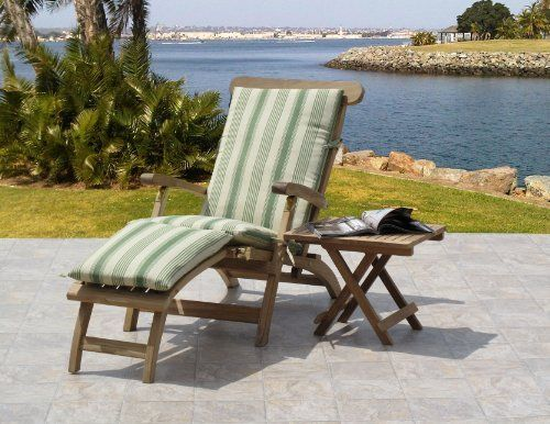 Outdoor Patio Teak Steamer Chair And Side Table Set Of 2 Waverly Fabric By Urbandesignfurnis Garden Patio Furniture Patio Chair Cushions Outdoor Furniture Sets