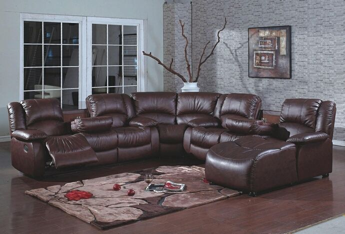 4 Pc Brown Bonded Leather Sectional Sofa With Recliners And Chaise Lounge And Drop Sectional Sofa With Recliner Brown Sectional Sofa Sectional Sofa With Chaise