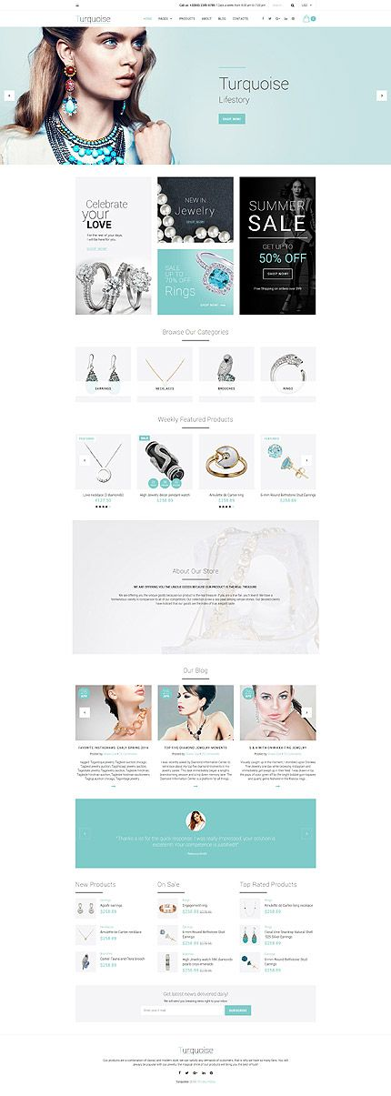Template 58937 - Turquoise Jewelry Responsive Website Template ...