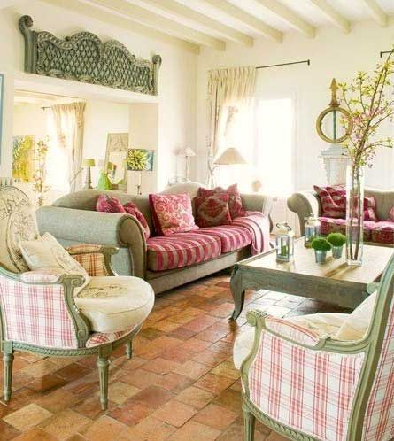 Cottage ♥ Country Living Room ...An old headboard is ...