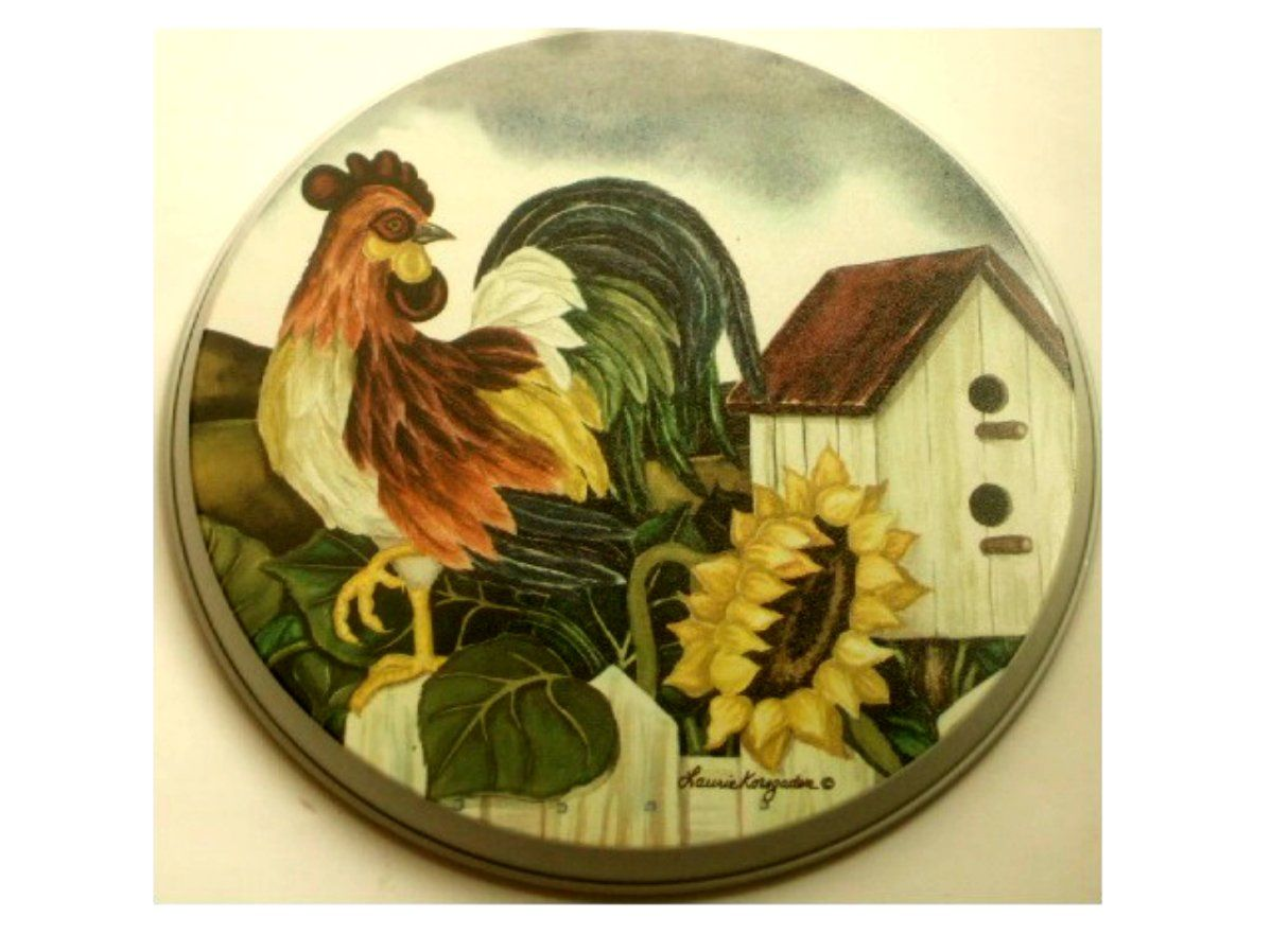 Rooster Themed Kitchen country rooster sunflower metal range burner covers add some farm