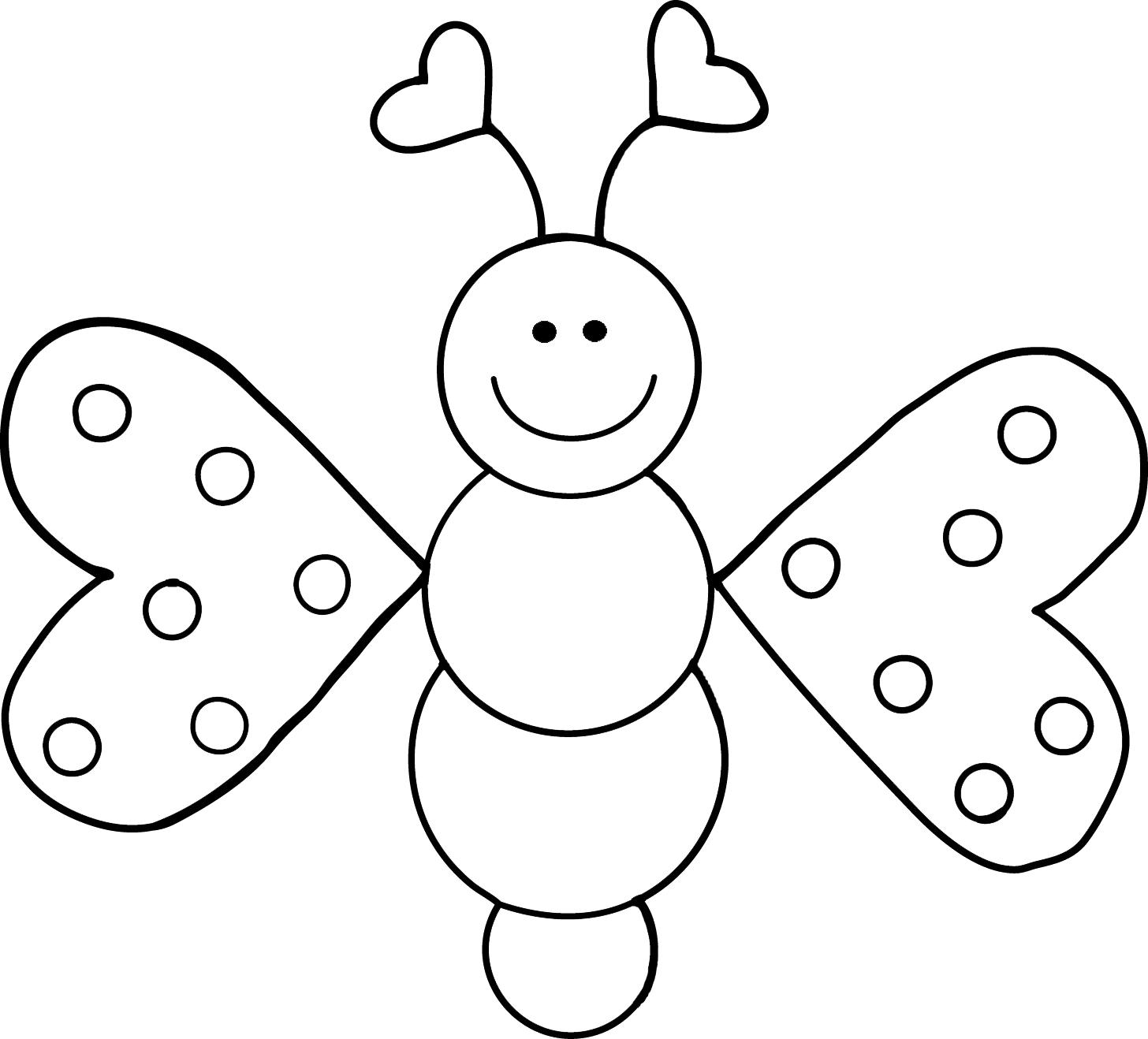 Love Bugs Freebie Clip Art Butterfly Coloring Page Coloring Pages Cartoon Butterfly [ 1318 x 1456 Pixel ]