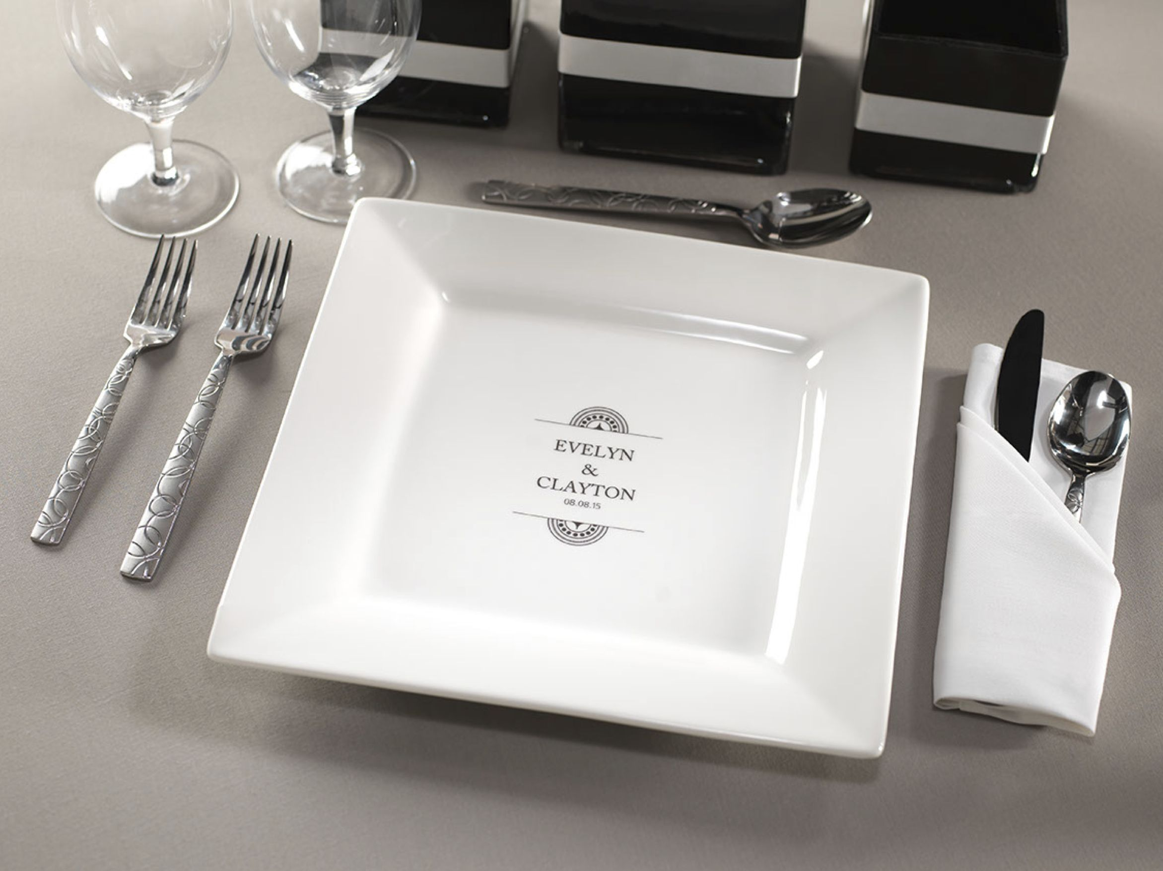 monogrammed plate for wedding reception from checkerboard