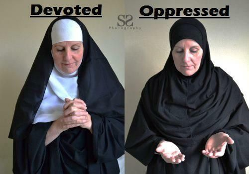 Veiled muslim woman VS. veiled catholic nuns?