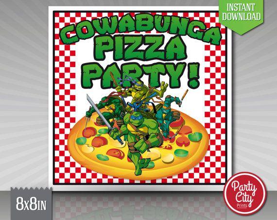 Tmnt Pizza Box Label Instant Download Party By Partycityprints Tortugas Ninjas Ninja Tortugas