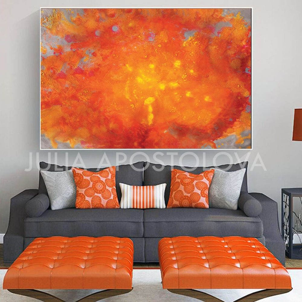 Orange Sunsetabstract Paintingorange Abstract Art Print On Etsy Bright Artwork Modern Wall Decor Abstract Painting