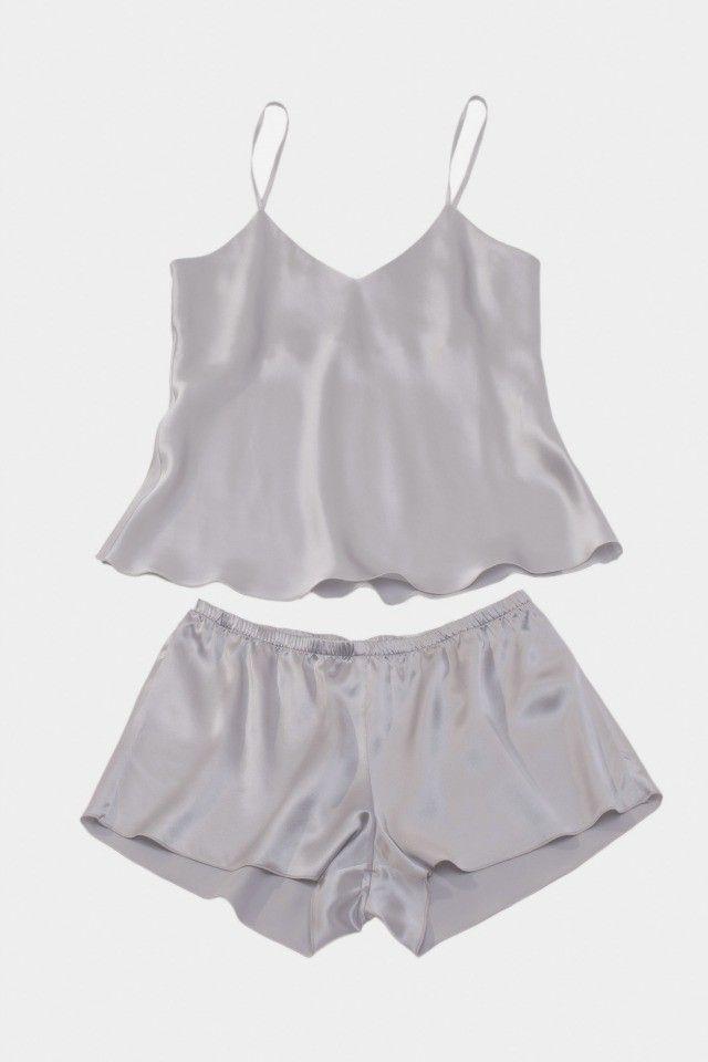 'Belle' Silk Camisole Top and Shorts Set in Silverlight Grey | www.silkandgrey.com