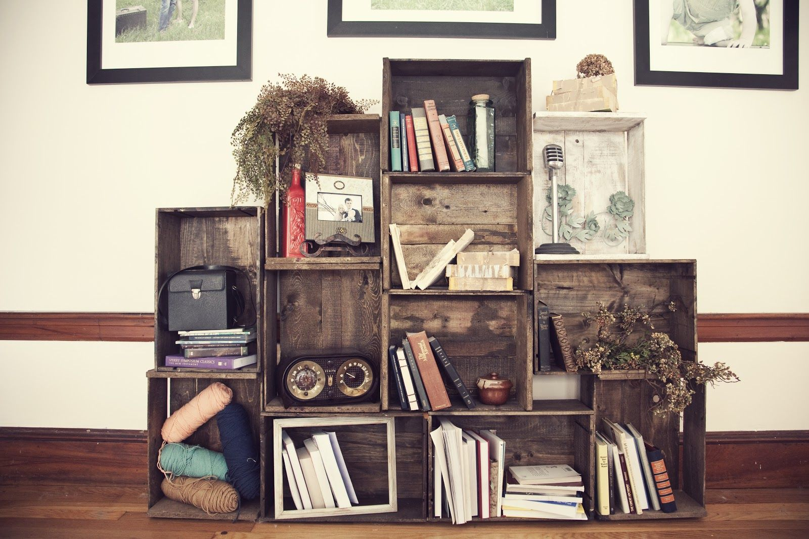 Wooden crates as book shelves creative home pinterest wooden