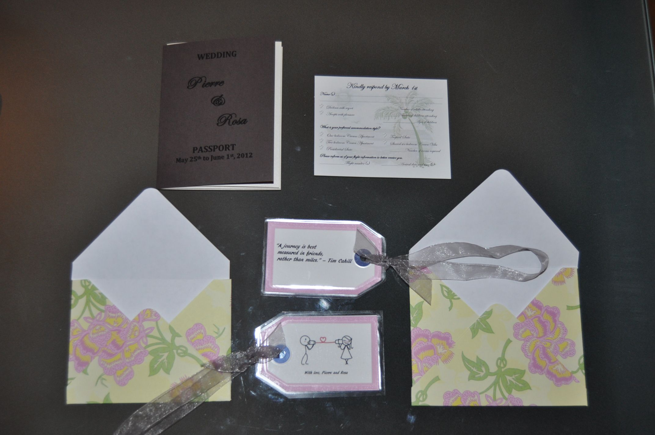 Our Complete Wedding Invitation Package Pport Reply Card With Envelope Luggage Tags And Larger