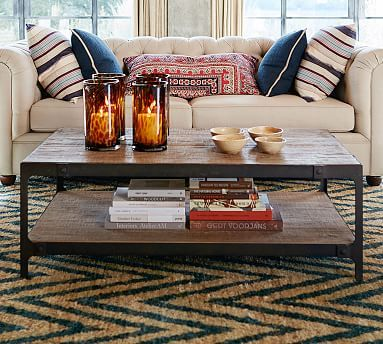 Clint Reclaimed Wood Coffee Table Pottery Barn 52 W X 30 D 18 H Shown In Rustic Distressed Finish