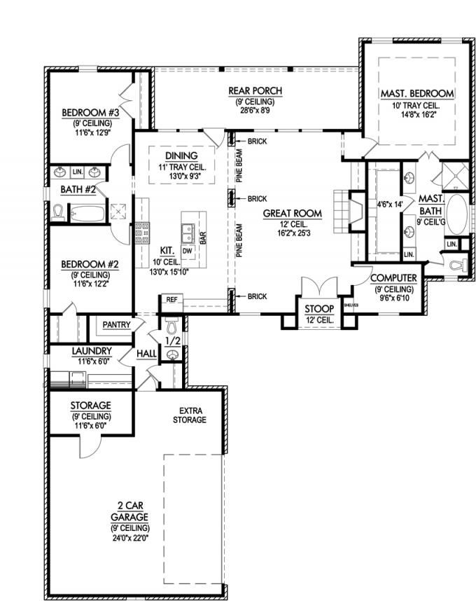 653641 efficient three bedroom with computer room - Space efficient floor plans ...