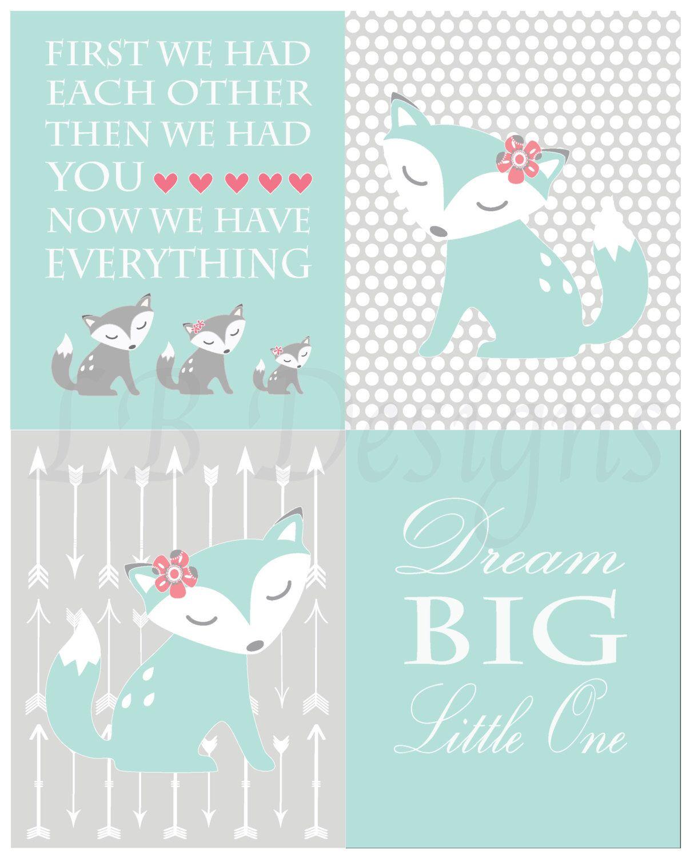 Baby Girl Woodland Nursery Print Girl Fox Nursery Decor